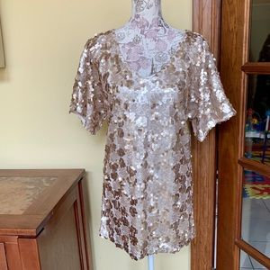 Free People Champagne Sequin Top